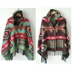 Reversible Aztec Tribal Boho Hooded Blanket Poncho